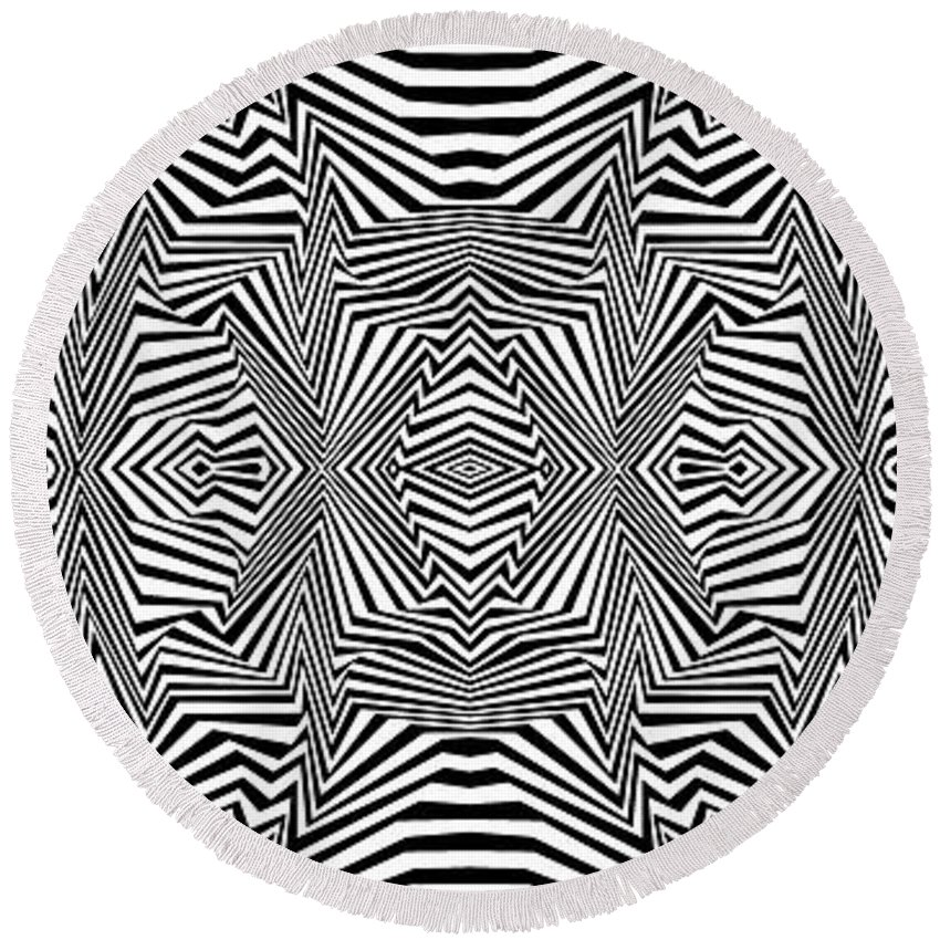 Dynamic Black And White Round Beach Towel featuring the painting Interlinking Everything by Douglas Christian Larsen