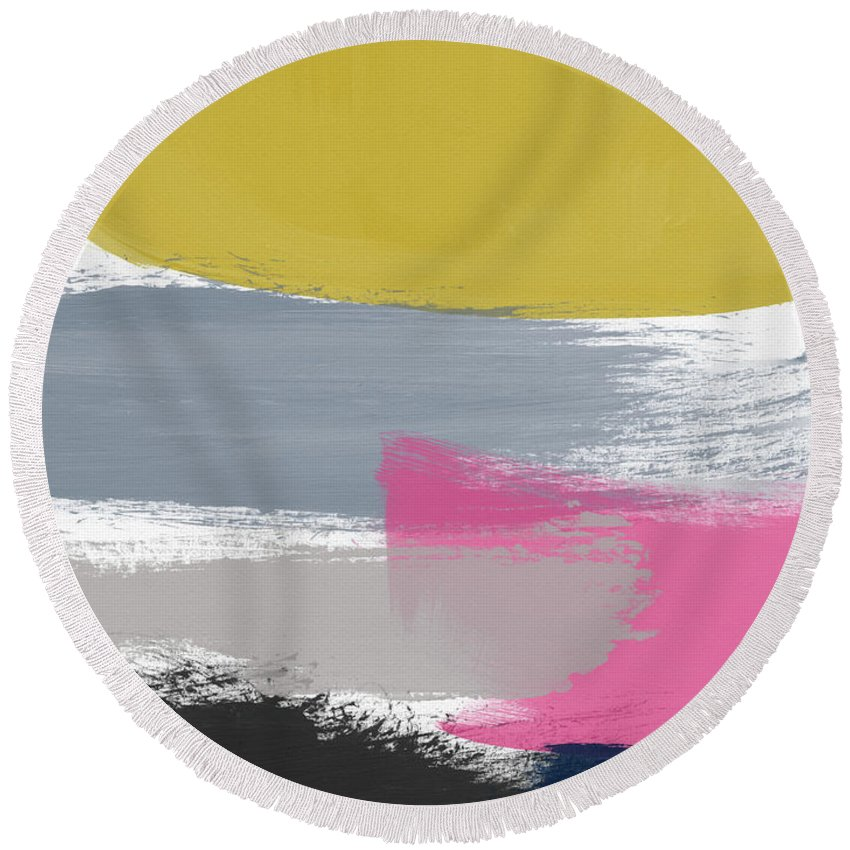 Abstract Round Beach Towel featuring the painting Jubilee Mix 2- Abstract Art By Linda Woods by Linda Woods