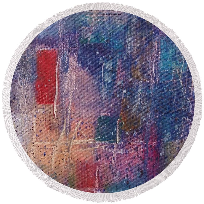 Abstract Expressionism Round Beach Towel featuring the painting Internal Dynamics # 5 by Jason Williamson