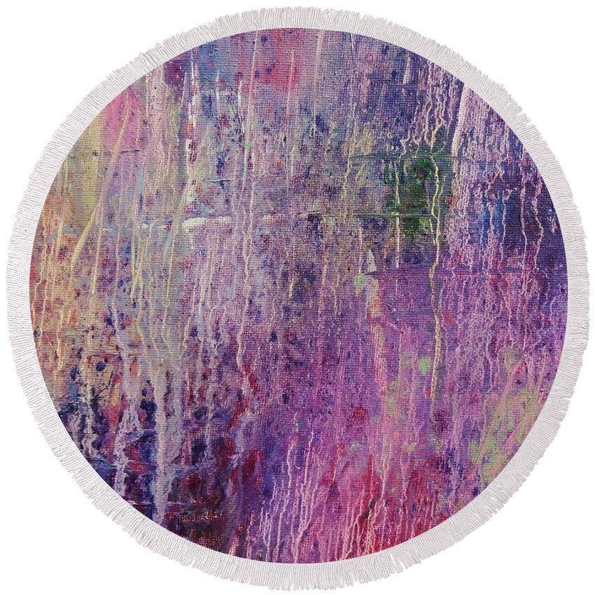 Abstract Expressionism Round Beach Towel featuring the painting Internal Dynamics # 6 by Jason Williamson