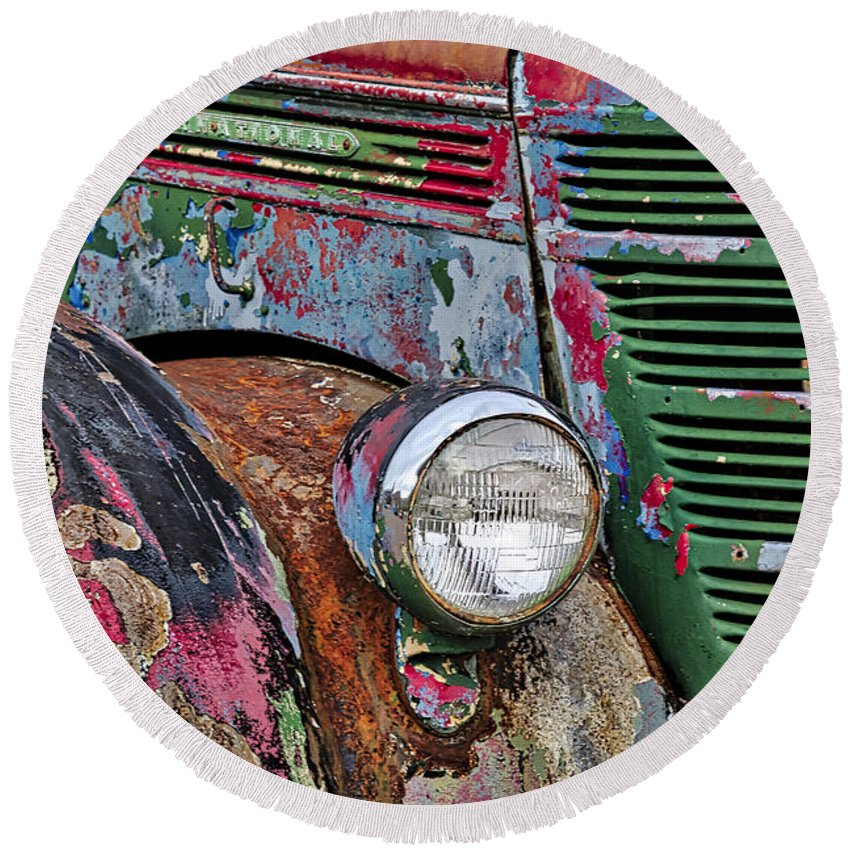 Truck Round Beach Towel featuring the photograph International Car Details by Susan Candelario