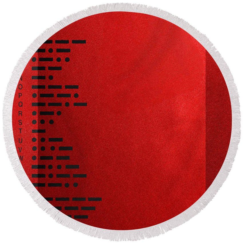 'visual Art Pop' Collection By Serge Averbukh Round Beach Towel featuring the digital art International Morse Code - Black On Red by Serge Averbukh