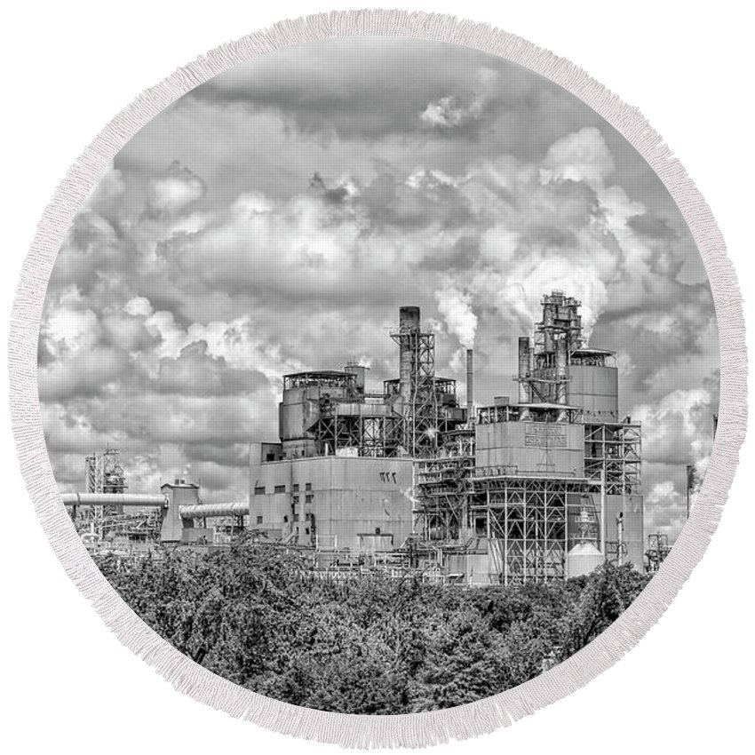 Architecture Round Beach Towel featuring the photograph International Paper Company by Kathy Baccari