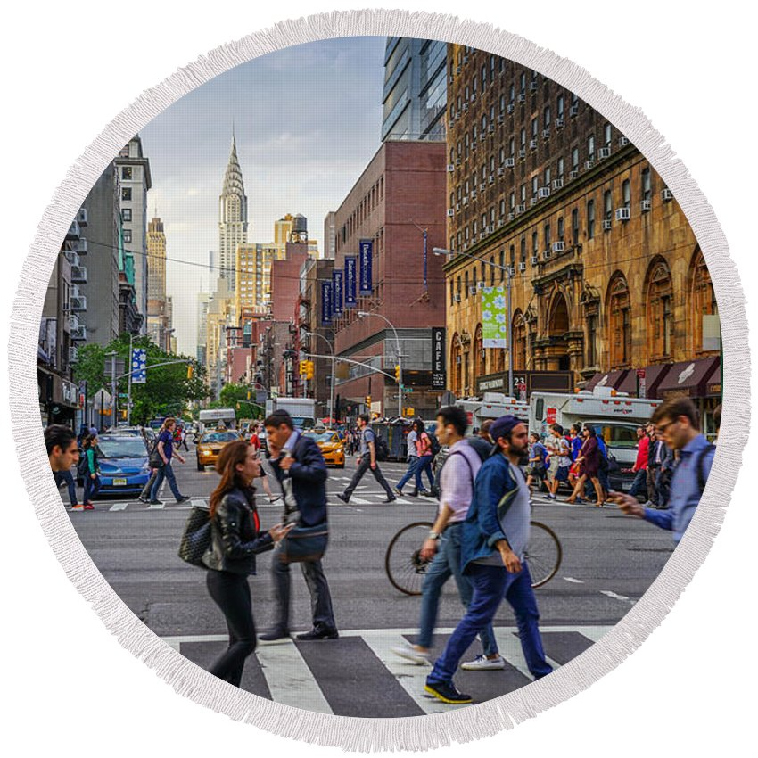 ' Nyc Round Beach Towel featuring the photograph Intersection by Jeffrey Friedkin
