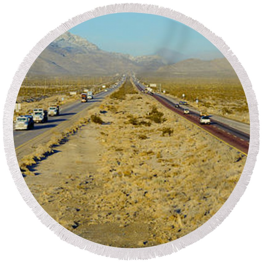Photography Round Beach Towel featuring the photograph Interstate 15, Near Las Vegas, After by Panoramic Images