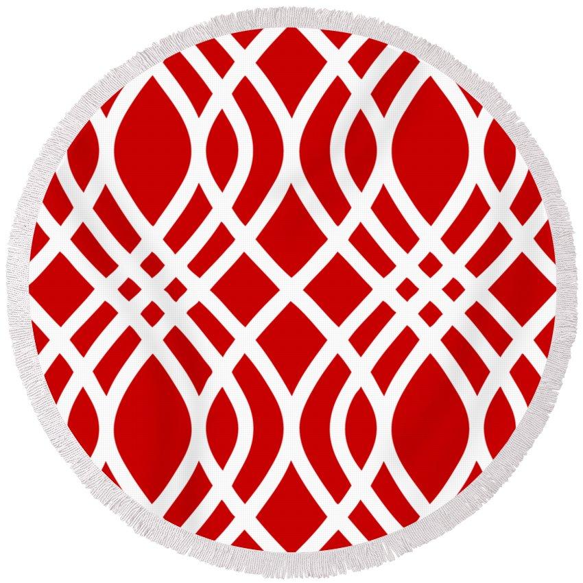 Intertwine Latticework Round Beach Towel featuring the digital art Intertwine Latticework With Border In Red by Custom Home Fashions