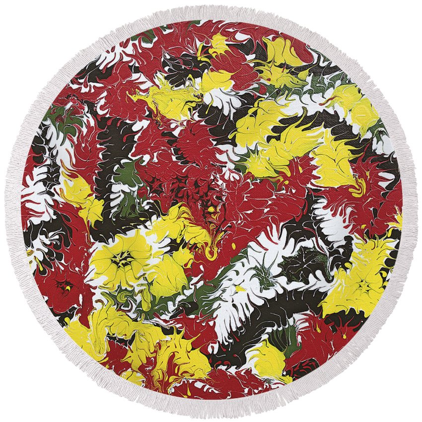 Keith Elliott Round Beach Towel featuring the painting Intimidation Of Energy - V1cm62 by Keith Elliott