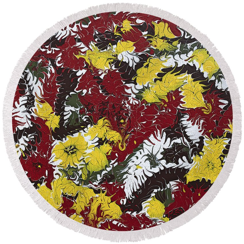 Keith Elliott Round Beach Towel featuring the painting Intimidation Of Energy - V1lle30 by Keith Elliott