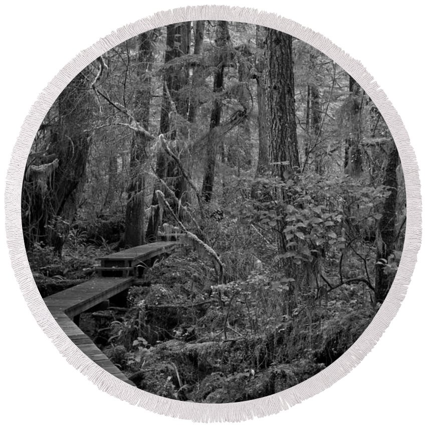 Black And White Round Beach Towel featuring the photograph Into A Magical World Black And White by Adam Jewell