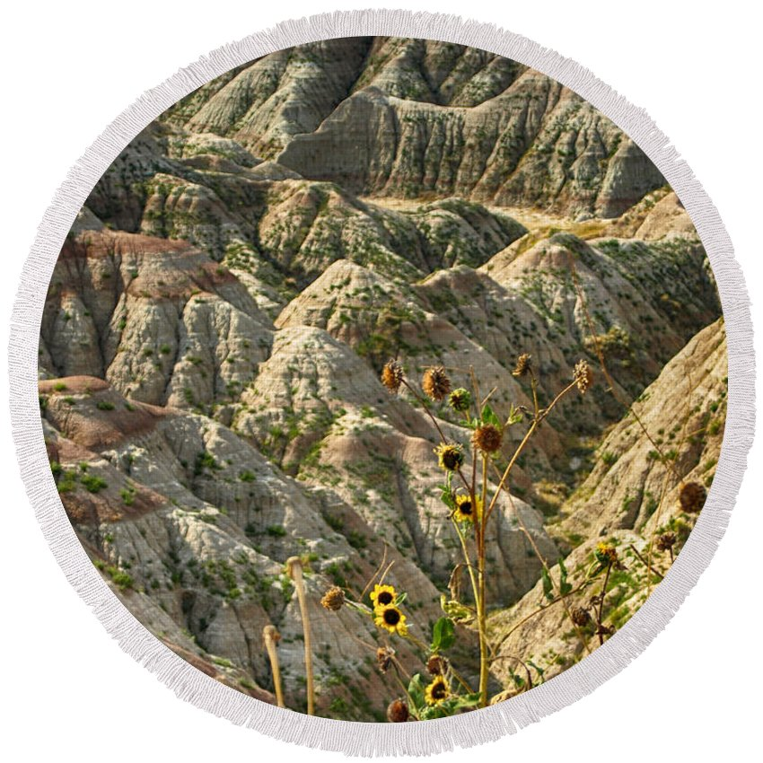 Ann Keisling Round Beach Towel featuring the photograph Into The Badlands South Dakota #3 by Ann Keisling