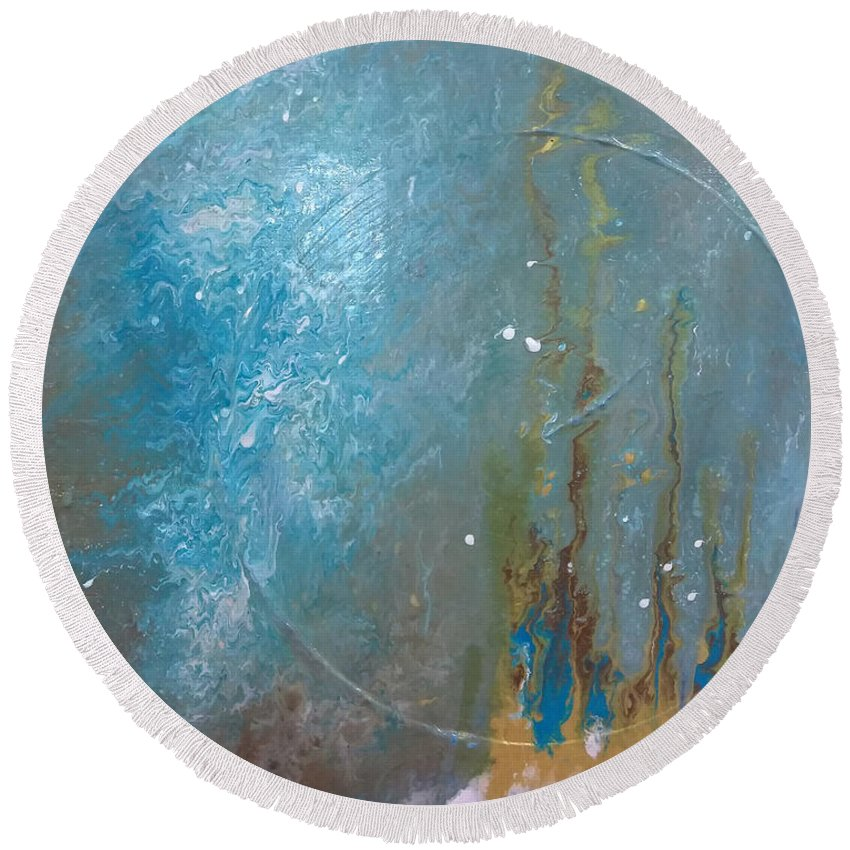 Deep Round Beach Towel featuring the painting Into The Deep by Jounda Strong