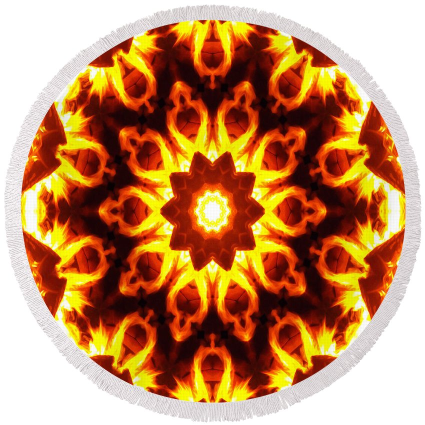 Kaleidoscope Round Beach Towel featuring the digital art Into The Fire by Shawna Rowe