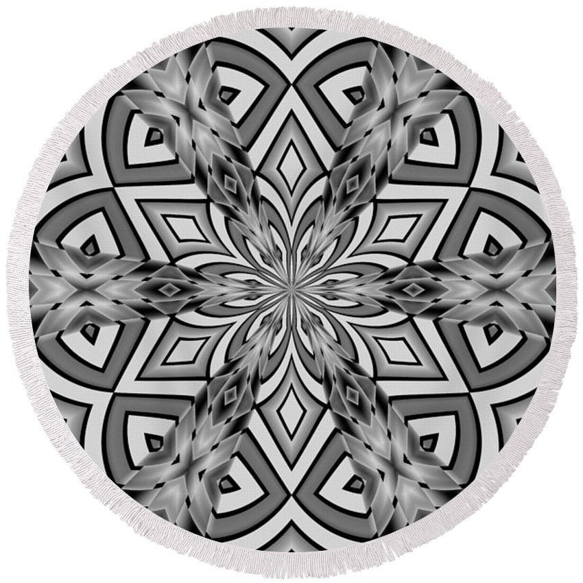 Abstract Round Beach Towel featuring the digital art Into The Floral by Michelle McPhillips