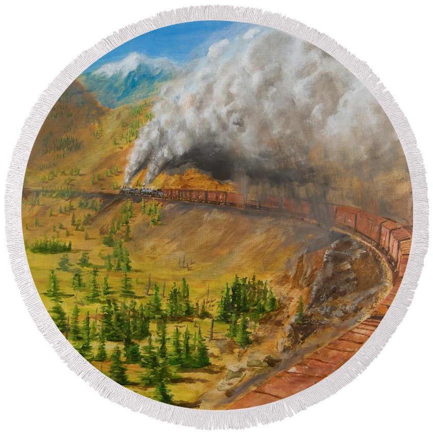 Train Round Beach Towel featuring the painting Into The Front Range by Christopher Jenkins