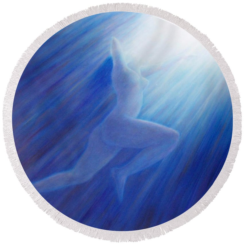 Spiritual Round Beach Towel featuring the painting Into The Light by Brian Commerford
