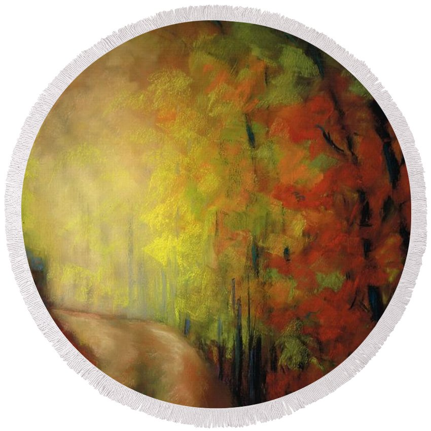 Landscape Round Beach Towel featuring the painting Into The Light by Frances Marino