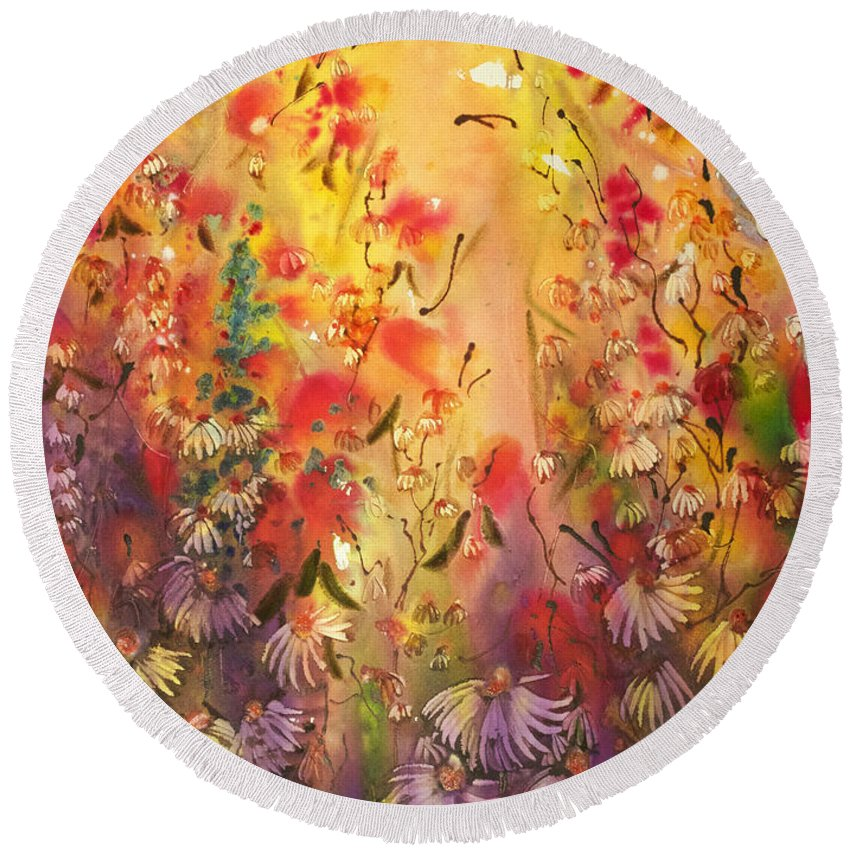 Floral Round Beach Towel featuring the painting Into The Light by Shirley Sykes Bracken