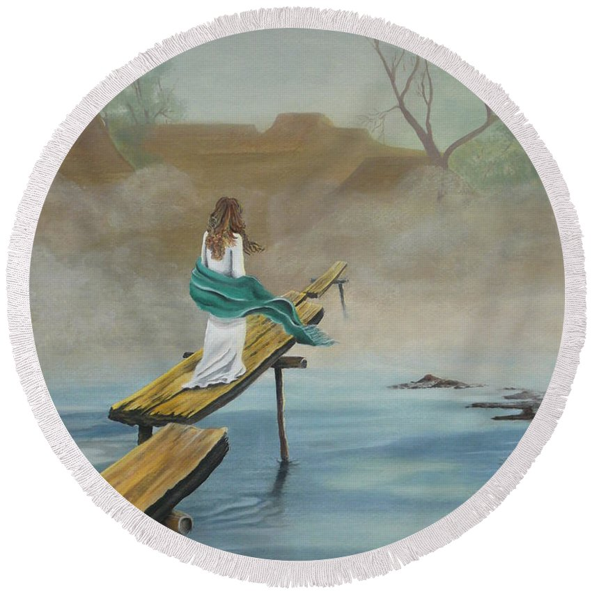 Water Round Beach Towel featuring the painting Into The Mist by Kris Crollard