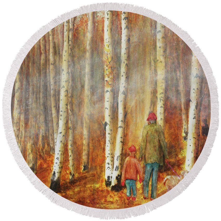 Birch Round Beach Towel featuring the photograph Into The Misty Autmun Woods by Darrell Mcgahhey
