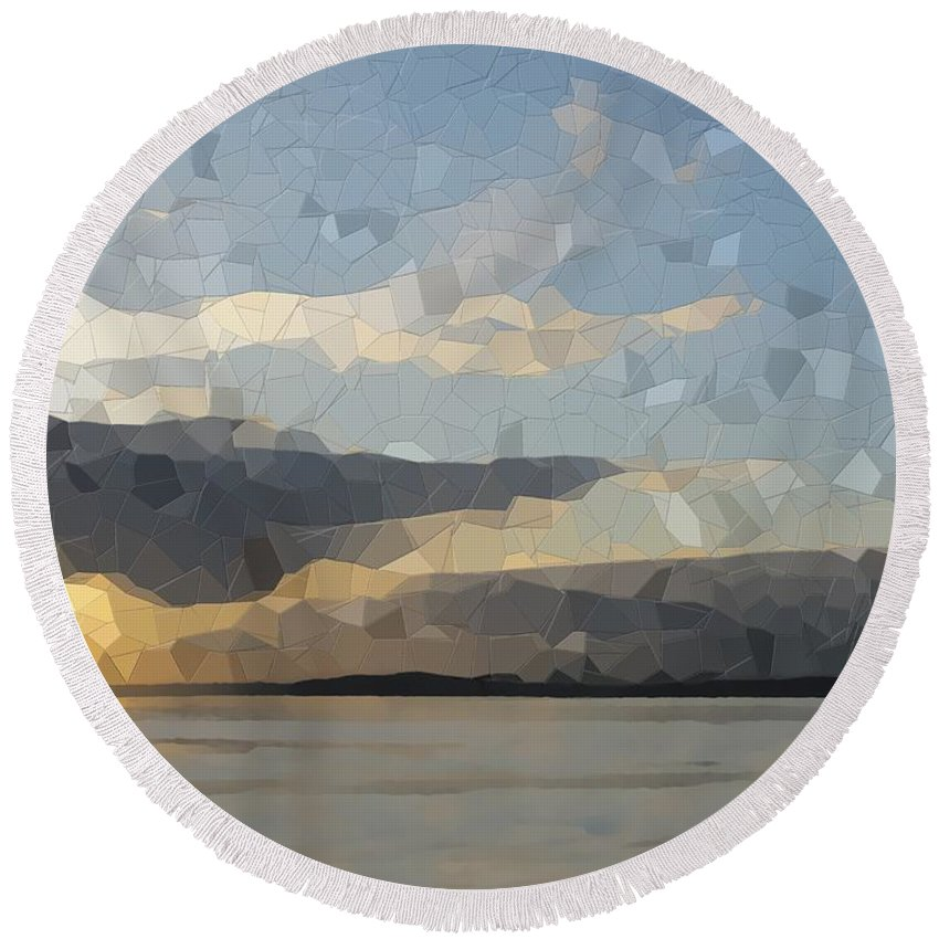 Abstract Round Beach Towel featuring the digital art Into The Sunset by Tim Allen