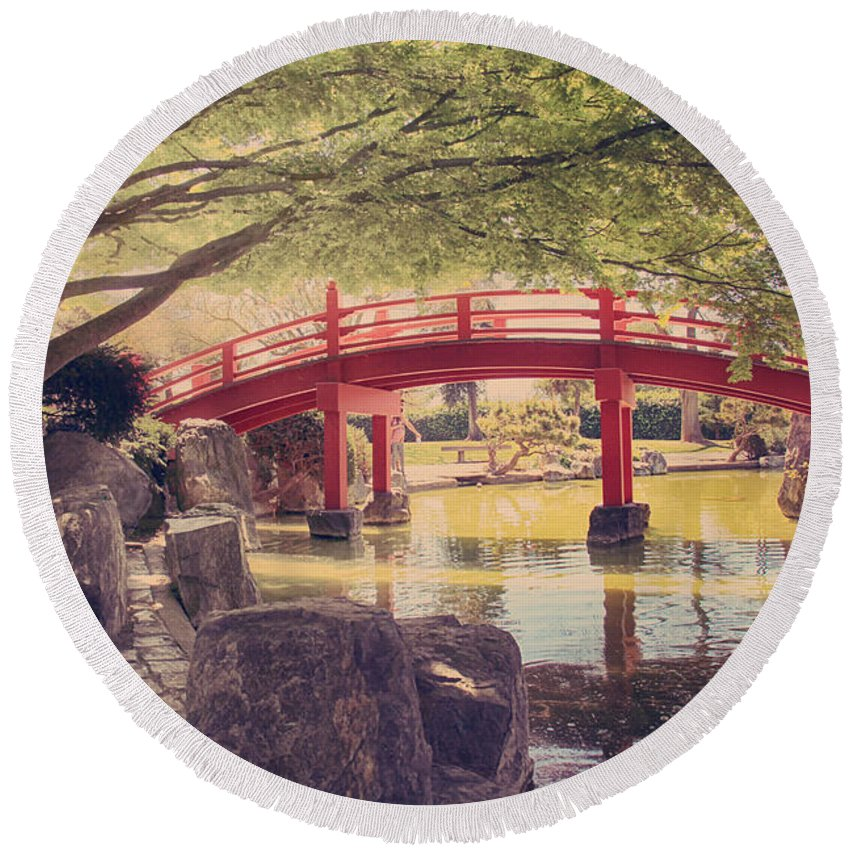 Japanese Friendship Garden Round Beach Towel featuring the photograph Into Your Loving Heart by Laurie Search
