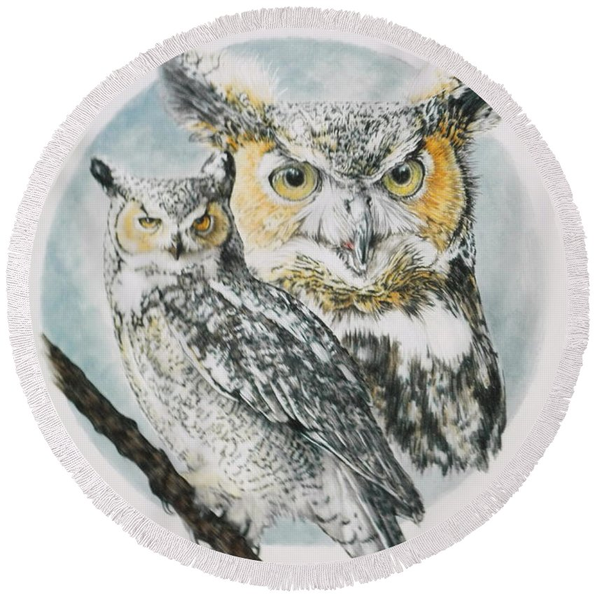 Owl Round Beach Towel featuring the mixed media Intrepid by Barbara Keith