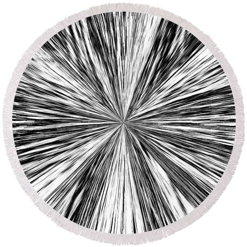 Black & White Round Beach Towel featuring the digital art Introspective by Will Borden