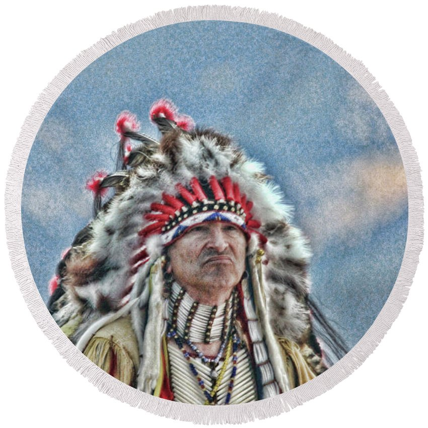 Chief Round Beach Towel featuring the photograph Intruders by Samantha Burrow