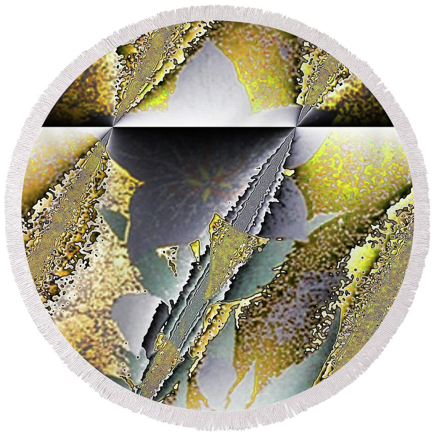 Abstract Round Beach Towel featuring the digital art Intrusion by Jack Bowman