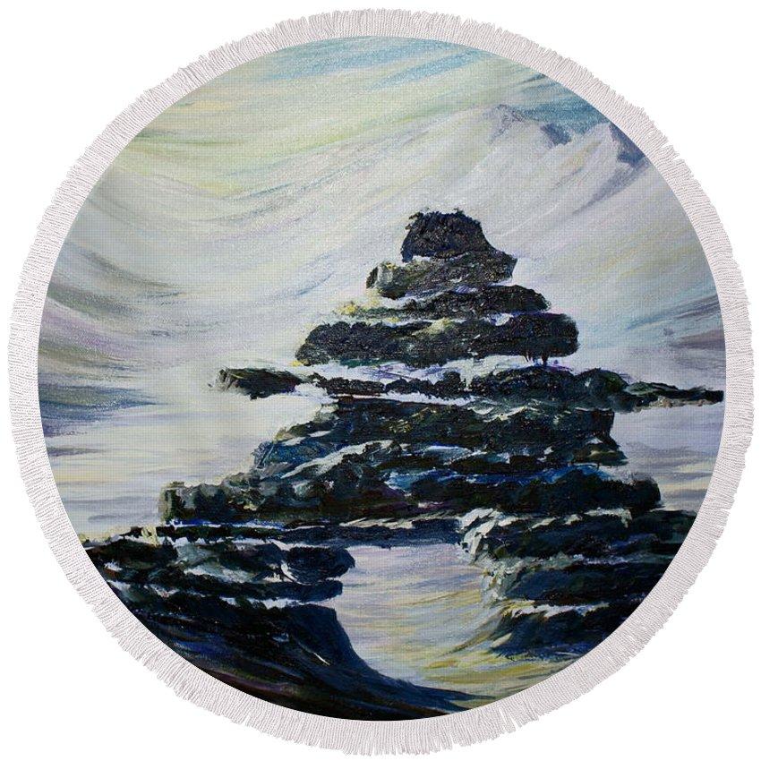 Inukshuk Northern Hemisphere Round Beach Towel featuring the painting Inukshuk by Joanne Smoley