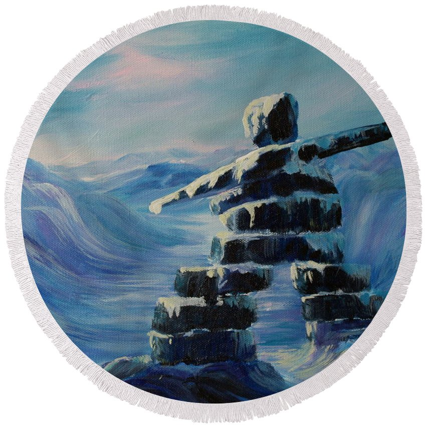 Inukshuk In Northern Canada Round Beach Towel featuring the painting Inukshuk My Northern Compass by Joanne Smoley