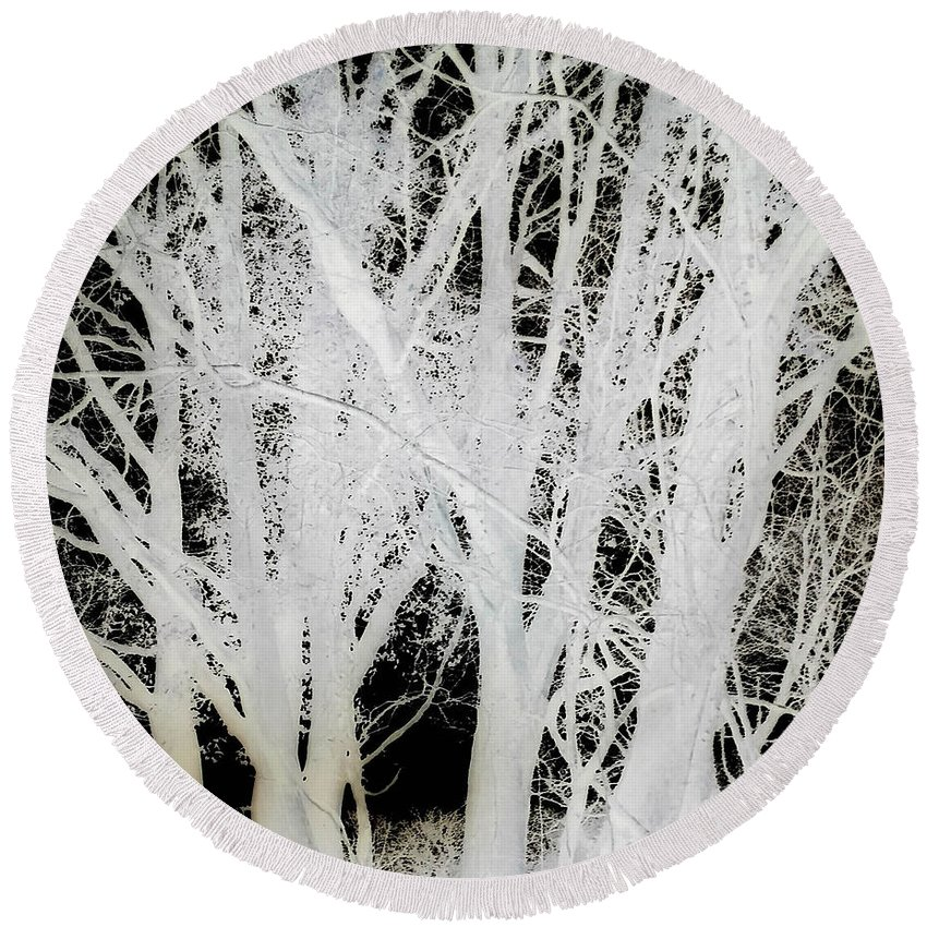 Trees Round Beach Towel featuring the photograph Inverted Nature by Frances Lewis