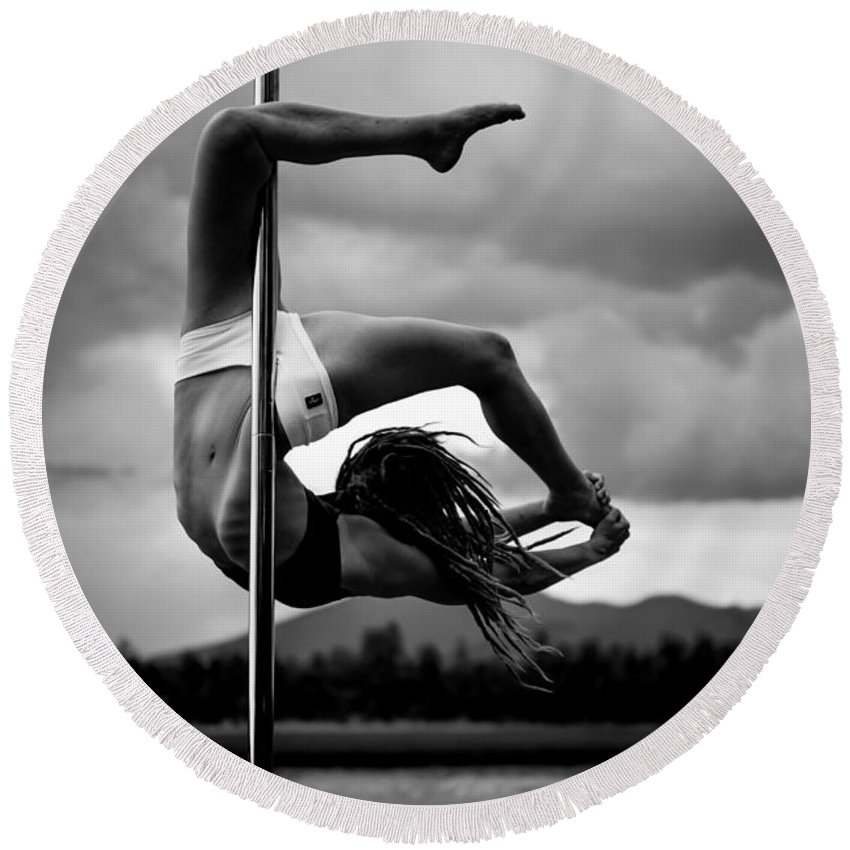 Hailey Round Beach Towel featuring the photograph Inverted Pole Dance 1 by Scott Sawyer