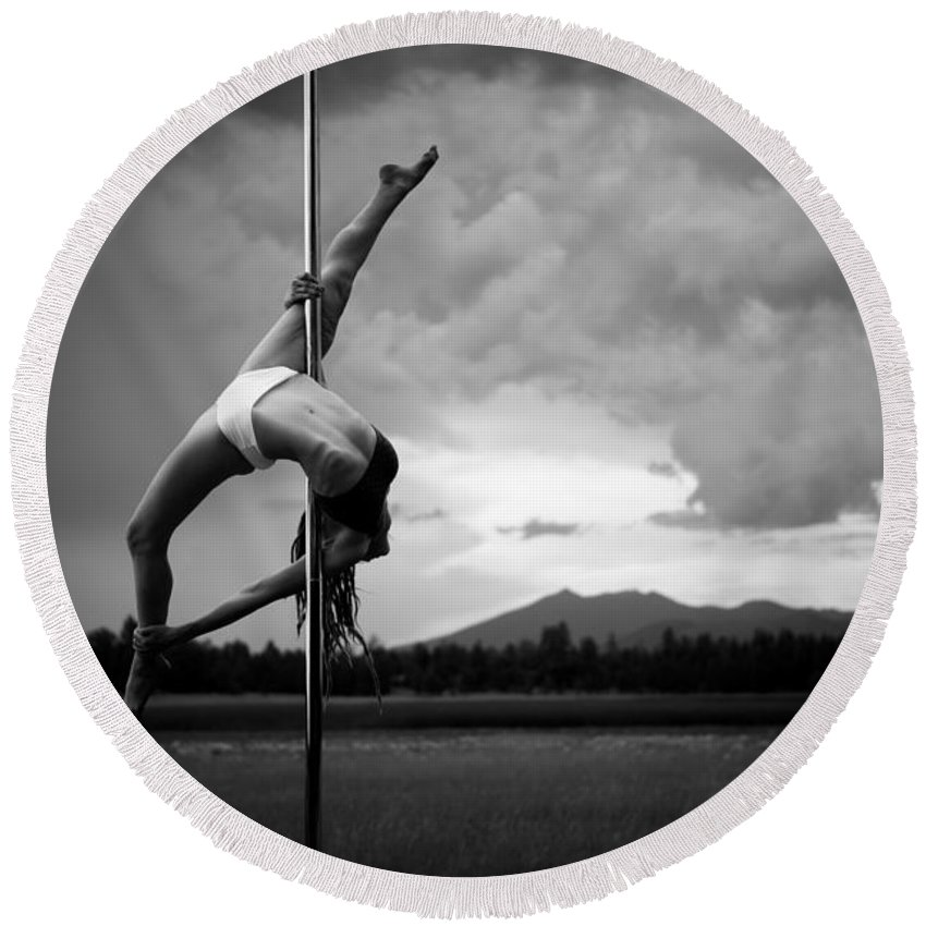 Hailey Round Beach Towel featuring the photograph Inverted Splits Pole Dance by Scott Sawyer