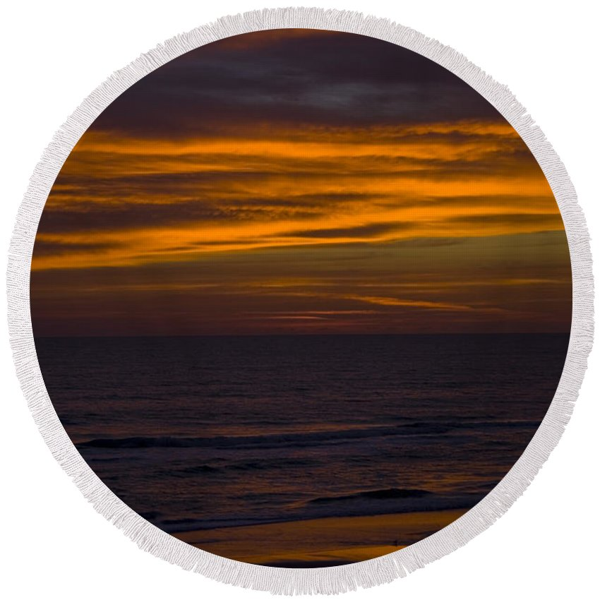 Beach Ocean Water Wave Waves Sky Cloud Clouds Sunrise Gold Golden Reflection Sand Round Beach Towel featuring the photograph Invisible Presence by Andrei Shliakhau