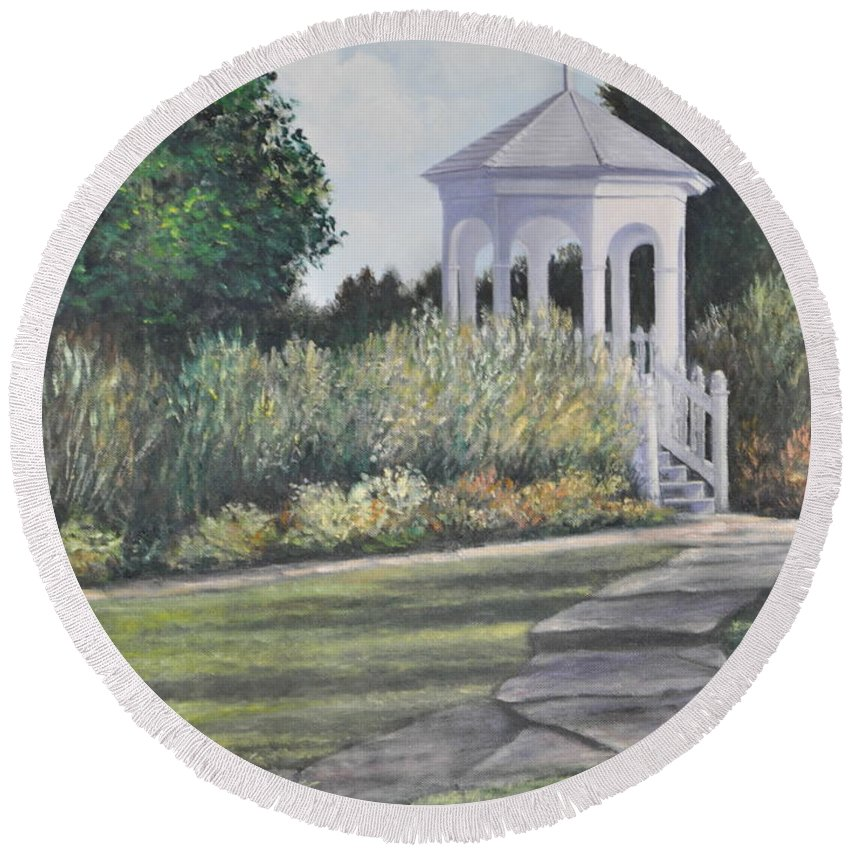 Laurel Arts Gazebo Round Beach Towel featuring the painting Invitation At Laurel Arts by Penny Neimiller