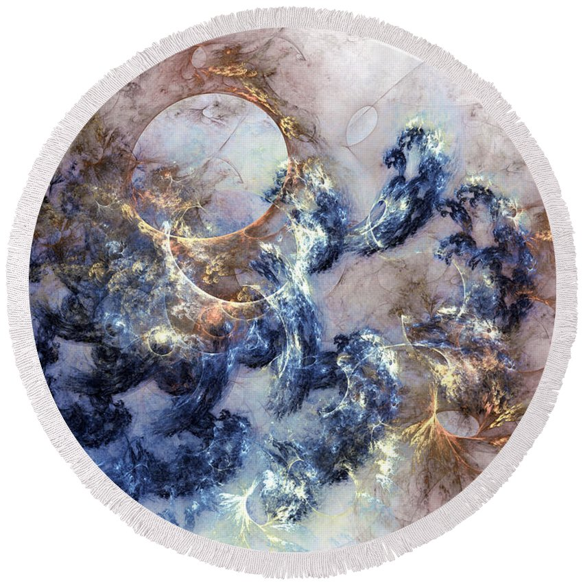 Abstract Round Beach Towel featuring the digital art Ion Storm by Casey Kotas