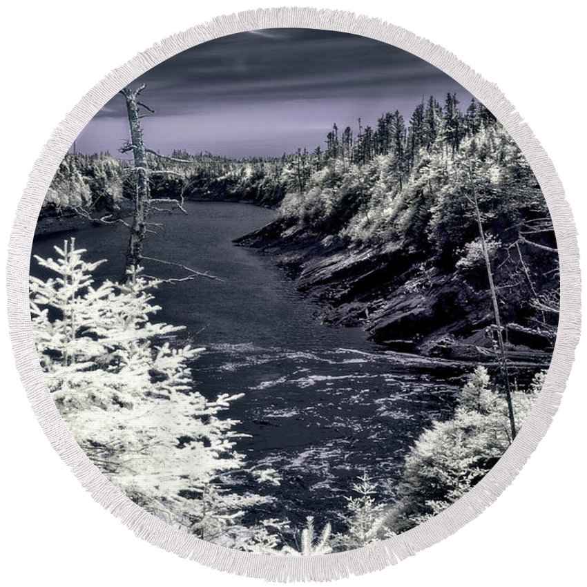 Newfoundland Round Beach Towel featuring the photograph iR Scene no. 13 by Joseph Yvon Cote