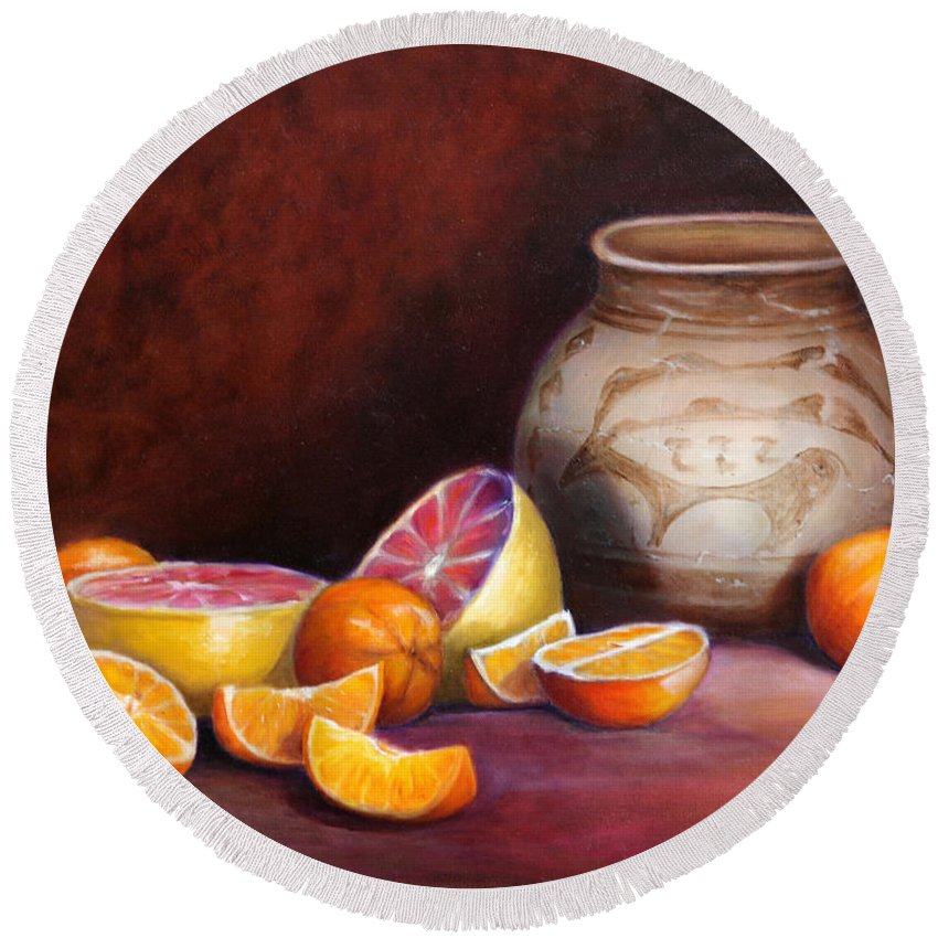Still Life Paintings Round Beach Towel featuring the painting Iranian Still Life by Portraits By NC