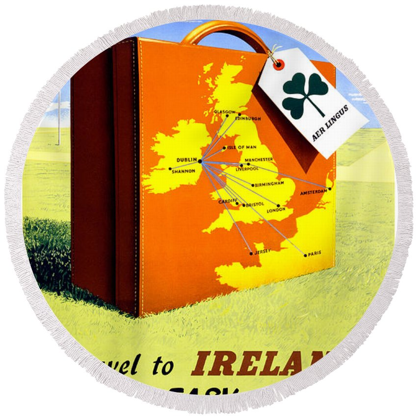 Vintage Round Beach Towel featuring the painting Ireland Vintage Travel Poster Restored by Vintage Treasure