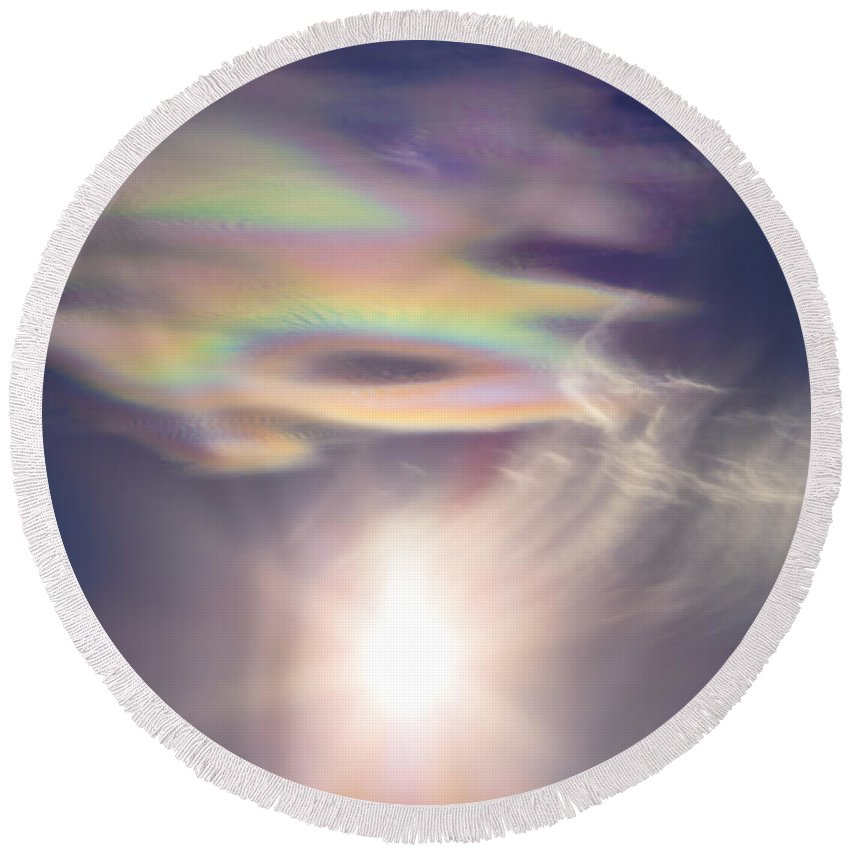 New Mexico Round Beach Towel featuring the photograph Iridescent Clouds Near The Sun by Alan Dyer