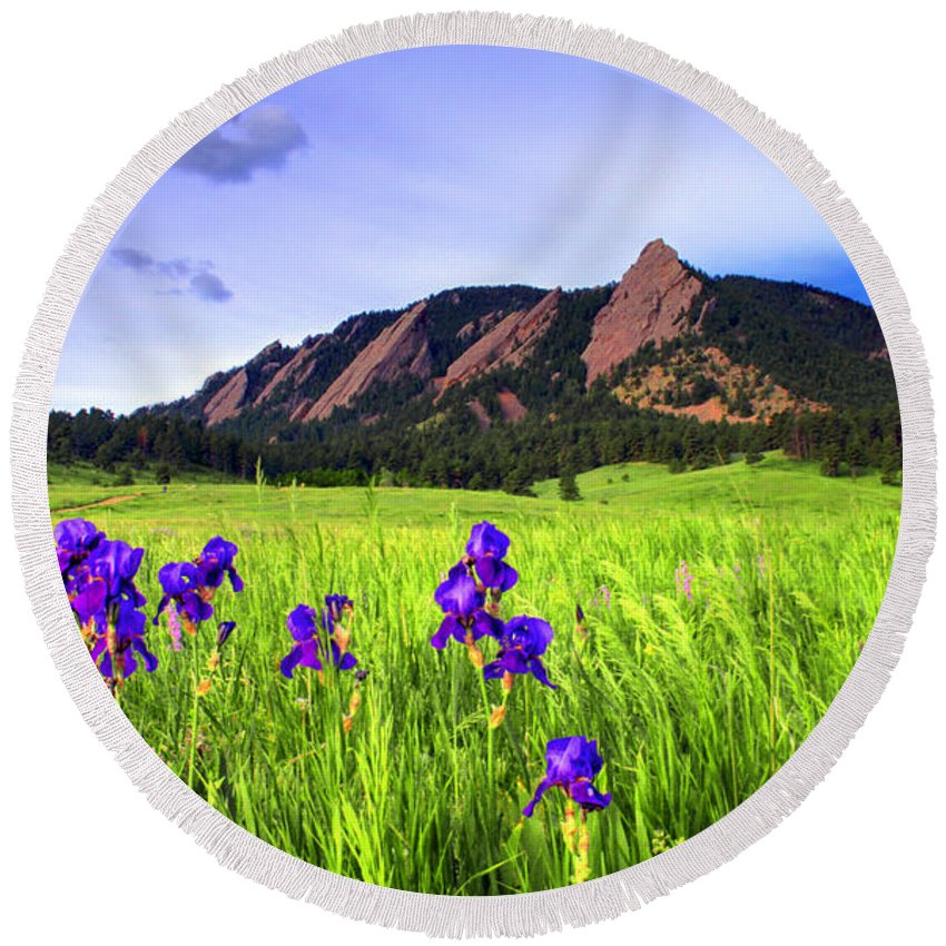 Flatirons Round Beach Towel featuring the photograph Iris And Flatirons by Scott Mahon