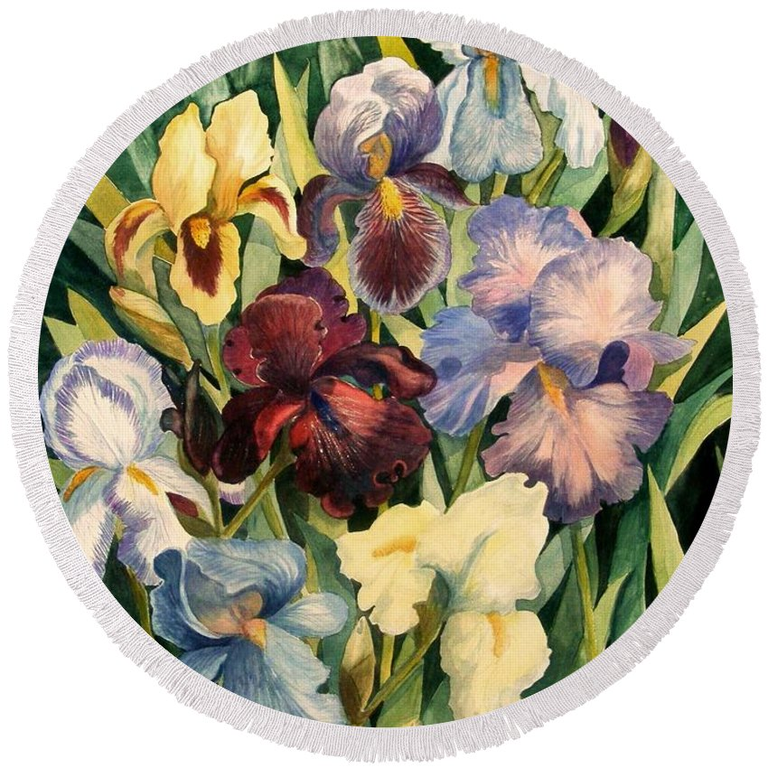 Flowers Round Beach Towel featuring the painting Iris Collection by Marilyn Smith