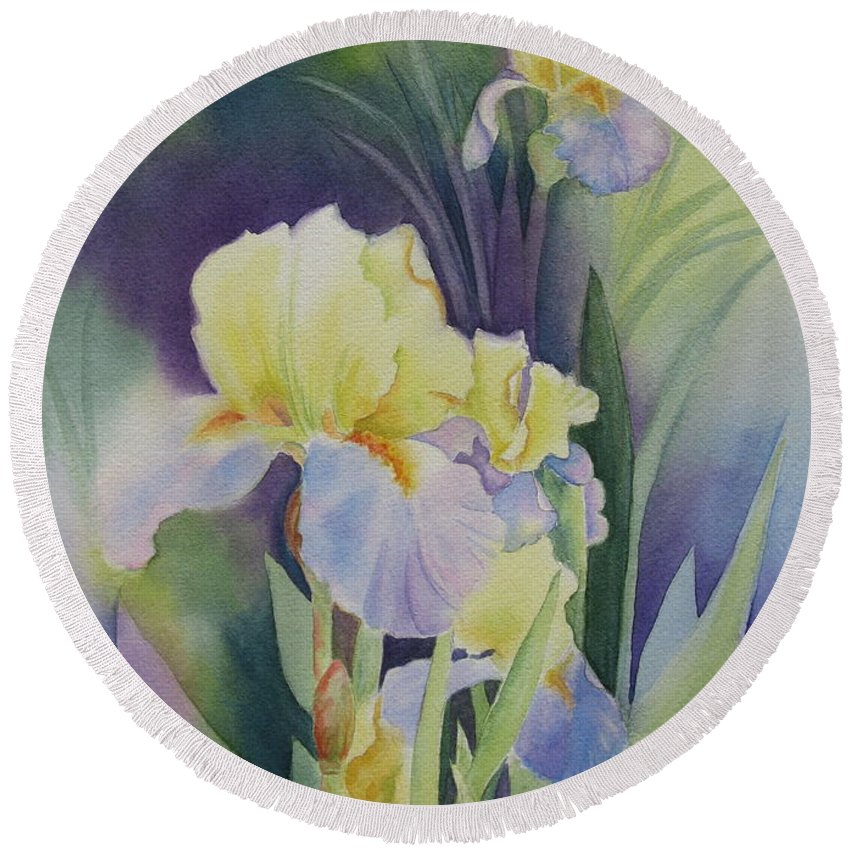 Iris Round Beach Towel featuring the painting Iris by Deborah Ronglien