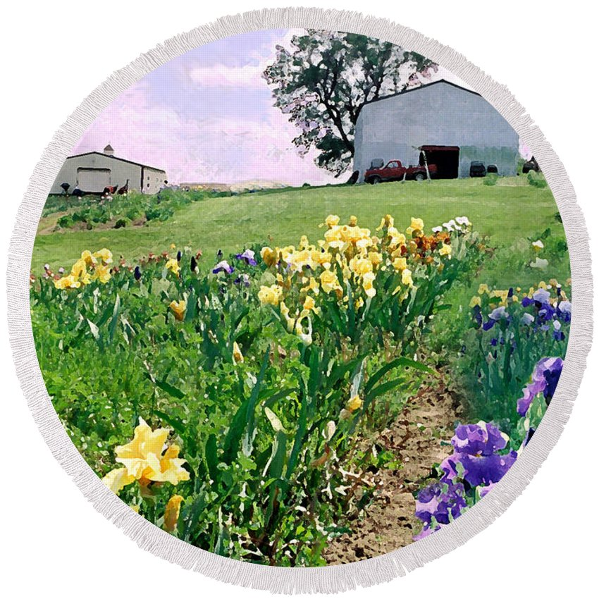 Landscape Painting Round Beach Towel featuring the photograph Iris Farm by Steve Karol