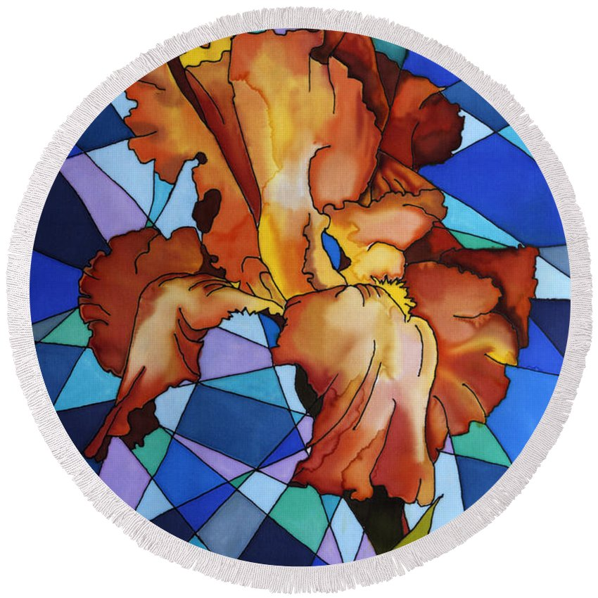 Yellow Round Beach Towel featuring the painting Iris Flower by Paula Chapman