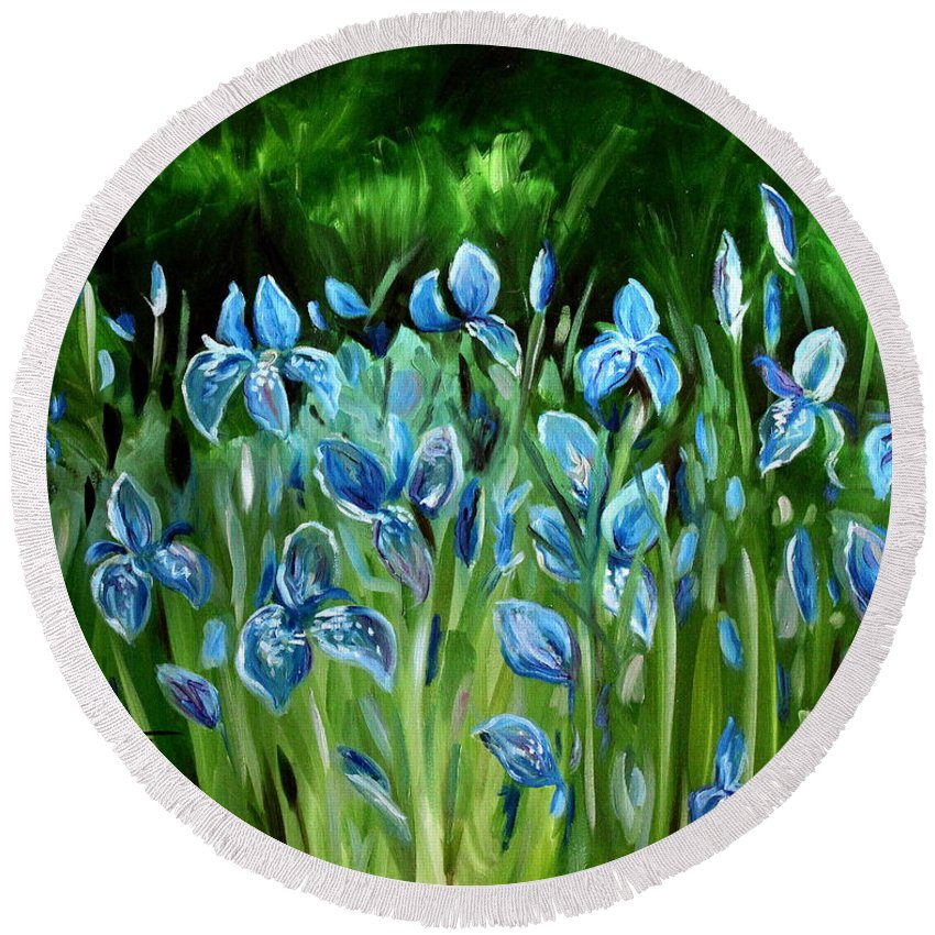 Flowers Round Beach Towel featuring the painting Iris Galore by Elizabeth Robinette Tyndall