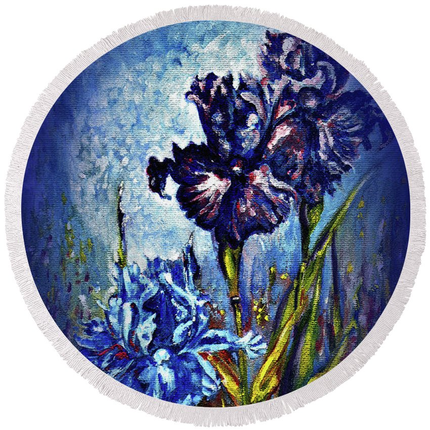 Flowers Round Beach Towel featuring the painting Iris by Harsh Malik