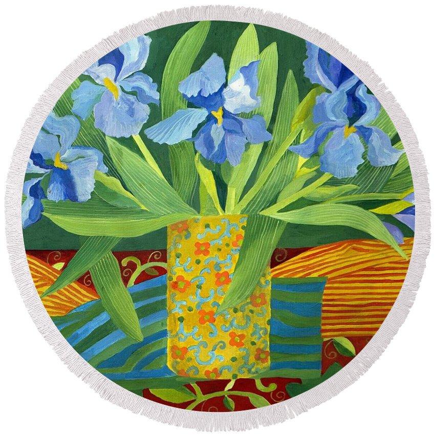 Iris Round Beach Towel featuring the painting Iris by Jennifer Abbot