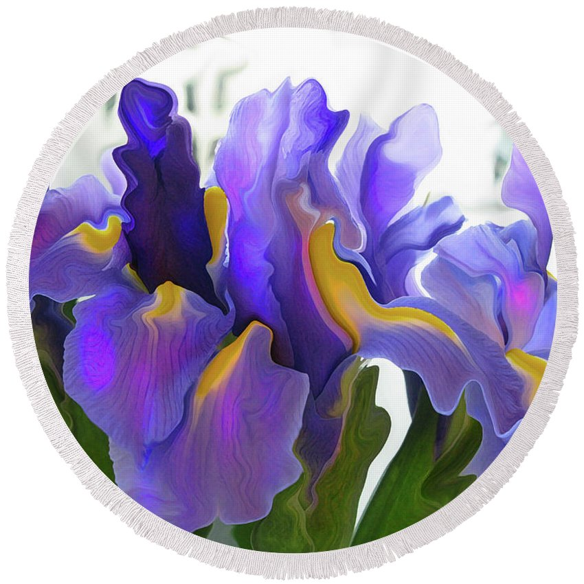 Abstract Round Beach Towel featuring the photograph Iris by Kathy Moll